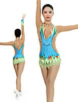 cheap -Rhythmic Gymnastics Leotards Artistic Gymnastics Leotards Women's Girls' Leotard Light Blue Spandex High Elasticity Handmade Jeweled Diamond Look Long Sleeve Competition Dance Rhythmic Gymnastics