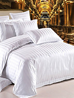 cheap -Duvet Cover Sets 4 Piece Linen / Cotton Solid Colored White Printed Simple
