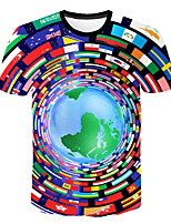 Недорогие -Дети Мальчики Классический Уличный стиль Контрастных цветов 3D Флаг С принтом С короткими рукавами Футболка Цвет радуги