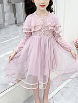 cheap -Kids Girls' Cute Blue Solid Colored Lace Bow Ruched Long Sleeve Midi Dress Blushing Pink