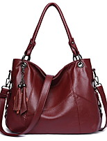 cheap -Women's Zipper PU Top Handle Bag Solid Color Black / Wine / Purple