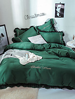 cheap -Goddess Small Money Lace Decorative Quilt Cover Embroidery Four Piece Bedding Dark Green