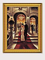 cheap -European Outstanding Carving Gilt Framed Castle Noble Party Art Printing Oil Painting Home Decor