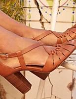 cheap -Women's Sandals Chunky Heel Round Toe PU Summer Blue / Brown