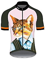 cheap -21Grams Men's Short Sleeve Cycling Jersey 100% Polyester Pink Cat Animal Bike Jersey Top Mountain Bike MTB Road Bike Cycling UV Resistant Breathable Quick Dry Sports Clothing Apparel / Stretchy