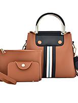 cheap -Women's Zipper PU Bag Set Striped 3 Pcs Purse Set Black / Brown / Blushing Pink