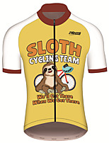 cheap -21Grams Men's Short Sleeve Cycling Jersey 100% Polyester Yellow Animal Sloth Bike Jersey Top Mountain Bike MTB Road Bike Cycling UV Resistant Breathable Quick Dry Sports Clothing Apparel / Stretchy