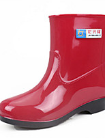 cheap -Women's Boots Flat Heel Round Toe PVC Mid-Calf Boots Spring & Summer / Fall & Winter Red / Blue / Khaki