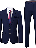cheap -Tuxedos Tailored Fit Slim Notch Single Breasted Two-buttons Polyester Solid Colored / British / Fashion