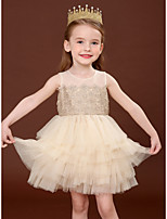 cheap -Princess Dress Girls' Movie Cosplay Cosplay Halloween Beige Dress Halloween Carnival Masquerade Tulle Polyester