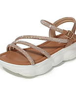 cheap -Women's Sandals Flat Heel Round Toe PU Spring & Summer Black / Khaki