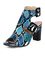 cheap -Women's Sandals Print Shoes Chunky Heel Open Toe Buckle PU Casual / Vintage Summer Almond / Blue / White