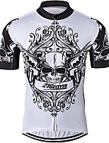 cheap -21Grams Men's Short Sleeve Cycling Jersey 100% Polyester Gray+White Skull Floral Botanical Bike Jersey Top Mountain Bike MTB Road Bike Cycling UV Resistant Breathable Quick Dry Sports Clothing Apparel