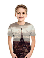 cheap -Kids Boys' Active Street chic Print Patchwork Print Short Sleeve Tee Light Brown