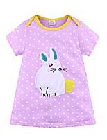 Недорогие -Дети Девочки Классический Милая Rabbit Полоски Животное Мультипликация С короткими рукавами Выше колена Платье Лиловый