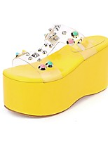 cheap -Women's Sandals Creepers Open Toe Rivet PU Vintage / Minimalism Spring & Summer Yellow / Blue / Party & Evening