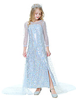 cheap -Princess Elsa Dress Girls' Movie Cosplay Cosplay White Dress Halloween Carnival Masquerade Polyester Sequin