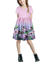cheap -Kids Girls' Basic Cute Floral Patchwork Print Short Sleeve Above Knee Dress Blushing Pink