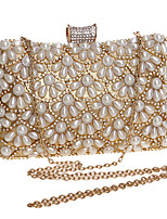 cheap -Women's Crystals / Pearls Polyester / Alloy Evening Bag Floral Print Black / Gold / Silver