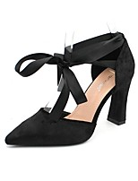 cheap -Women's Heels Chunky Heel Pointed Toe Suede Summer Black / Silver