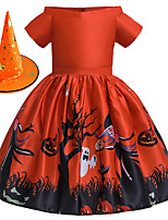 cheap -Witch Princess Dress Flower Girl Dress Girls' Movie Cosplay A-Line Slip Halloween Orange Dress Cap Halloween Children's Day Polyester / Cotton Blend Polyster / Sleeveless