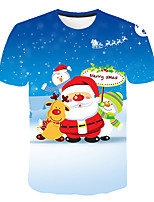 cheap -Kids Boys' Basic Street chic Santa Claus Snowman Color Block 3D Christmas Print Short Sleeve Tee Blue