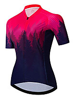 cheap -21Grams Women's Short Sleeve Cycling Jersey 100% Polyester Black / Red Gradient Bike Jersey Top Mountain Bike MTB Road Bike Cycling UV Resistant Breathable Quick Dry Sports Clothing Apparel