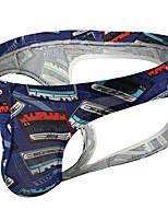 cheap -Men's Cut Out / Print Briefs Underwear - Normal Low Waist Blue S M L