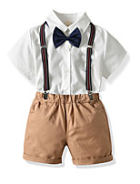 cheap -Kids Boys' Basic Birthday Party Party & Evening Solid Colored Short Sleeve Regular Regular Clothing Set White