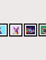 Недорогие -печать в рамке, печать в рамке, набор set4 - поп-арт цветной мультфильм милые животные PS иллюстрация Wall Art
