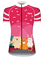 cheap -21Grams Women's Short Sleeve Cycling Jersey 100% Polyester Pink Animal Bike Jersey Top Mountain Bike MTB Road Bike Cycling UV Resistant Breathable Quick Dry Sports Clothing Apparel / Stretchy