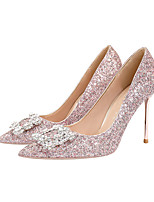 cheap -Women's Heels Stiletto Heel Pointed Toe Rhinestone / Sequin Synthetics Sweet Walking Shoes Spring &  Fall / Spring & Summer Pink / Silver / Wedding / Party & Evening