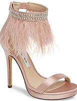 cheap -Women's Sandals Furry Feather Stiletto Heel Round Toe Feather PU Spring & Summer Pink / Black