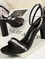 cheap -Women's Sandals Chunky Heel Round Toe PU Summer Black / Almond / Blue
