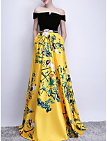 cheap -A-Line Off Shoulder Sweep / Brush Train Polyester Chinese Style / Gold Prom / Formal Evening Dress with Pattern / Print / Sash / Ribbon 2020