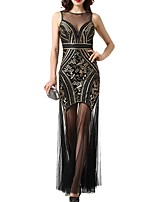 cheap -Sheath / Column Jewel Neck Floor Length Polyester Roaring 20s / Gatsby Engagement / Formal Evening Dress with Sequin 2020