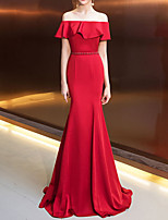 cheap -Mermaid / Trumpet Off Shoulder Sweep / Brush Train Tulle Sexy / Red Engagement / Formal Evening Dress with Ruffles / Pleats 2020