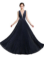 cheap -A-Line Glittering Beautiful Back Wedding Guest Formal Evening Dress V Neck Sleeveless Floor Length Spandex with Sleek 2020