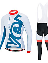 cheap -EVERVOLVE Men's Long Sleeve Cycling Jersey with Bib Tights White Black Geometic Bike Clothing Suit Thermal / Warm Breathable 3D Pad Quick Dry Sweat-wicking Sports Solid Color Mountain Bike MTB Road