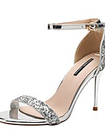 cheap -Women's Sandals Print Shoes Stiletto Heel Round Toe PU Summer Gold / Silver