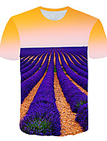 cheap -Kids Boys' Basic Street chic Geometric Color Block 3D Print Short Sleeve Tee Lavender