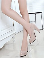 cheap -Women's Heels Chunky Heel Round Toe PU Spring & Summer Black / Almond / White