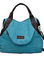 cheap -Women's Canvas Top Handle Bag Solid Color Blue