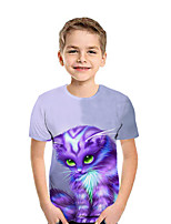 cheap -Kids Boys' Active Street chic Geometric Color Block 3D Short Sleeve Tee Purple