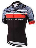 cheap -21Grams Men's Short Sleeve Cycling Jersey 100% Polyester Black / Red Camo / Camouflage Bike Jersey Top Mountain Bike MTB Road Bike Cycling UV Resistant Breathable Quick Dry Sports Clothing Apparel