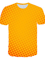 cheap -Kids Boys' Basic Street chic Polka Dot Color Block 3D Print Short Sleeve Tee Yellow