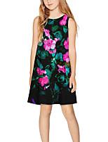 cheap -Kids Girls' Basic Cute Floral Print Sleeveless Above Knee Dress Black