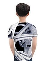cheap -Kids Boys' Active Street chic Geometric Color Block 3D Short Sleeve Tee White