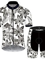Недорогие -21Grams Муж. С короткими рукавами Велокофты и велошорты Серый+Белый Цветочные ботанический Велоспорт Наборы одежды Устойчивость к УФ Дышащий 3D-панель Быстровысыхающий Впитывает пот и влагу