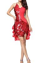 cheap -Latin Dance Dresses Women's Performance Polyester Paillette Dress